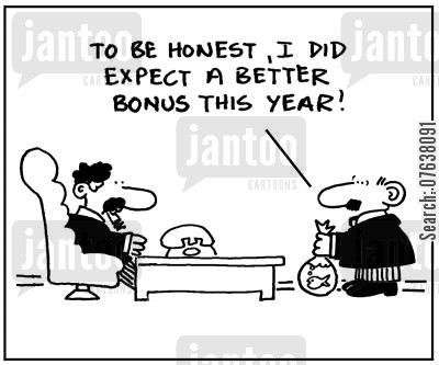 executive bonus cartoon humor: 'To be honest, I did expect a better bonus this year.'