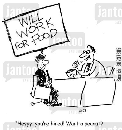 peanuts cartoon humor: 'Heyyy, you're hired! Want a peanut?'
