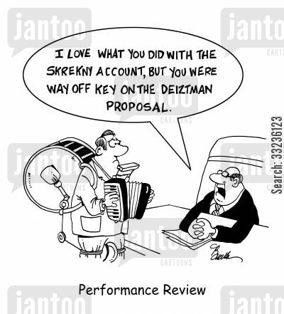 business pitch cartoon humor: Performance Review
