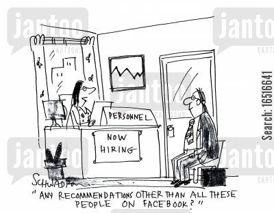 personal relations cartoon humor: 'Any recommendations other than all these people on Facebook?'