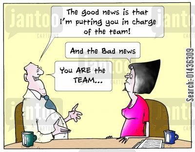 staffing cut cartoon humor: 'The Good News is that I'm putting you in charge of the team!...'