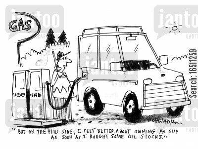 oil share cartoon humor: 'But on the plus side, I felt better about owning an SUV as soon as I bought some oil stocks.'