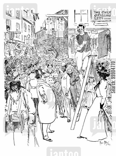 shopkeepers cartoon humor: Petticoat lane.