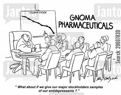 pharmaceutical cartoon humor: 'What about if we give our major stockholders samples of our antidepressants?'