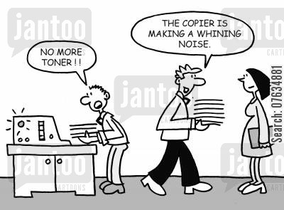 employ cartoon humor: The copier is making a whining noise.