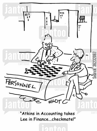 chess pieces cartoon humor: Atkins in Accounting takes Lee in Finance...checkmate!