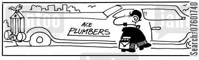mending cartoon humor: successful business - Ace plumbers