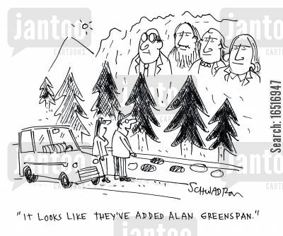 abraham lincoln cartoon humor: 'It looks like they've added Alan Greenspan.'