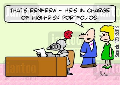 stocks and bonds cartoon humor: 'That's Renfrew -- he's in charge of high-risk portfolios.'