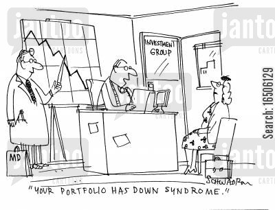 down syndrome cartoon humor: 'Your portfolio has down syndrome.'
