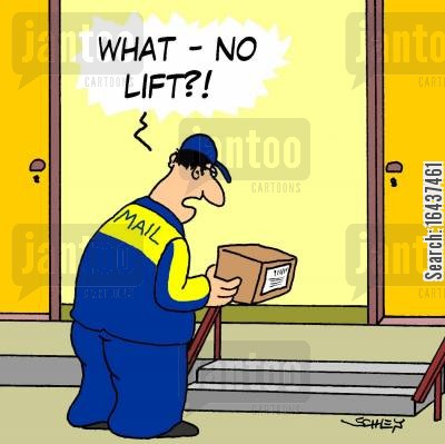 step cartoon humor: 'What - No lift?!'