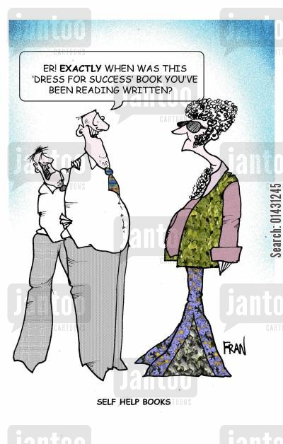 new image cartoon humor: Er! Exactly when was this 'dress for success' book you've been readng written?
