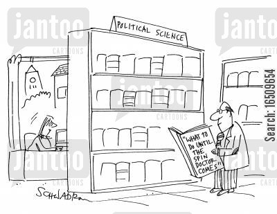 press relations cartoon humor: Library - Political Science section - 'What to do until the spin doctor comes'