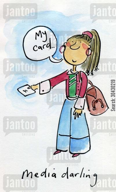 businesscard cartoon humor: Media Darling.