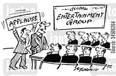 entertainment group cartoon humor: 'Applause' sign at a meeting.