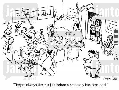 predatory business deal cartoon humor: 'They're always like this just before a predatory business deal.'