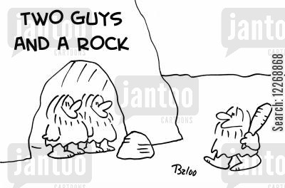 film reference cartoon humor: TWO GUYS AND A ROCK