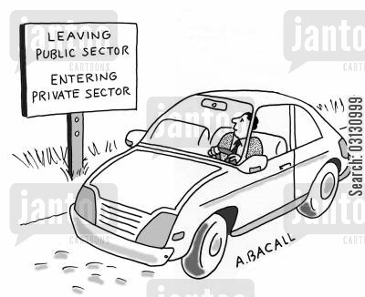 businessman cartoon humor: public and private sectors