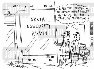 inseurity cartoon humor: 'I see the truth-in-advertising-people got wind of the proposed privatising...'