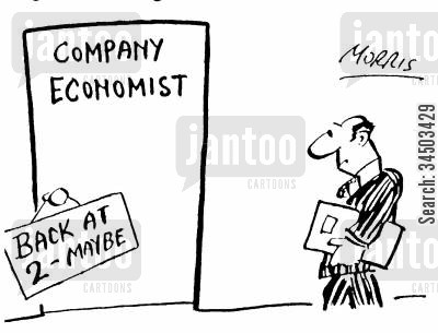company economy cartoon humor: Company economist: Back at 2 - maybe