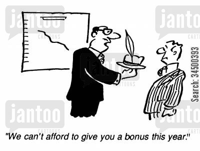 christmas bonuses cartoon humor: We can't afford to give you a bonus this year.