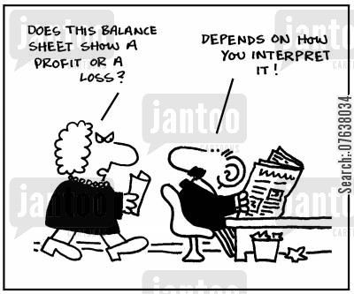balance sheets cartoon humor: 'Does this balance sheet show a profit or a loss? Depends on how you interpret it.'