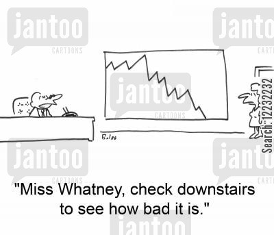 downstairs cartoon humor: 'Miss Whatney, check downstairs to see how bad it is.'