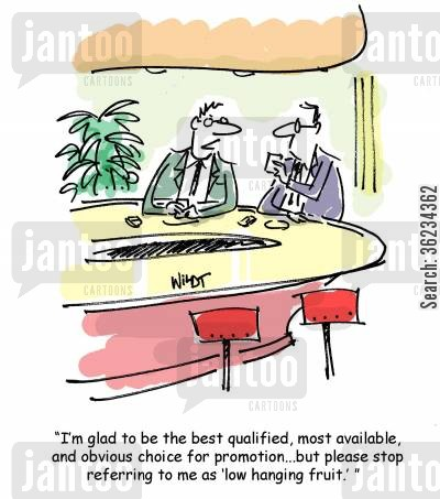 business jargon cartoon humor: I'm glad to be the best qualified, most available and obvious choice for promotion, but please stop referring to me as low hanging fruit.