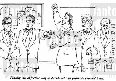 couture cartoon humor: 'Finally, an objective way to decide who to promote around here.'