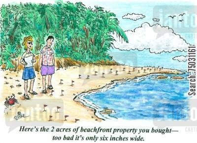 swindle cartoon humor: 'Here's the 2 acres of beachfront property you bought - too bad it's only six inches wide.'