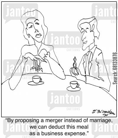 taxes cartoon humor: 'By proposing a merger instead of marriage, we can deduct this meal as a business expense.'