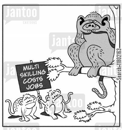 speak no evil cartoon humor: Multi skilling costs jobs.