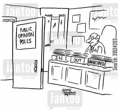 public opinions cartoon humor: Desk of Public Opinion Polls has 'In' box 'Out' box and 'Undecided'.