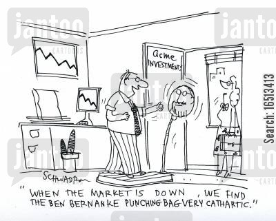 cathartic cartoon humor: 'When the market is down, we find the ben bernanke punching bag very cathartic.'