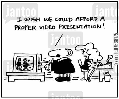 puppet theatres cartoon humor: 'I wish we could afford a proper video presentation.'
