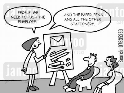 office stationery cartoon humor: People, we need to push the envelope, and the paper, pens and all the other stationery.