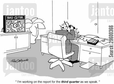 football game cartoon humor: 'I'm working on the report for the third quarter as we speak.'