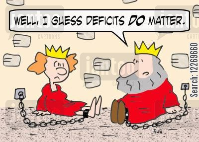 king cartoon humor: 'Well, I guess deficits DO matter.'