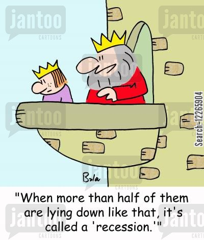 crown princes cartoon humor: 'When more than half of them are lying down like that, it's called a 'recession.'