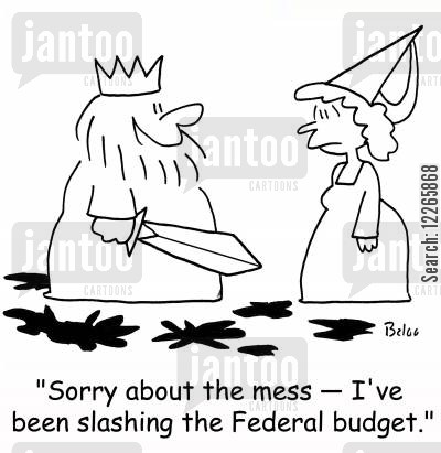 economic cut cartoon humor: 'Sorry about the mess -- I've been slashing the Federal budget.'