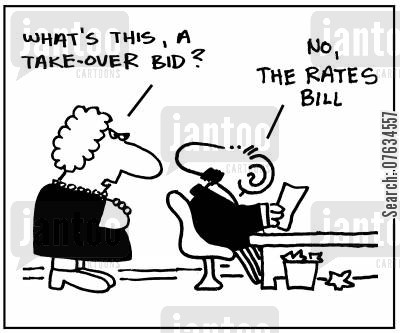 company takeovers cartoon humor: That's this, a takeover bid?