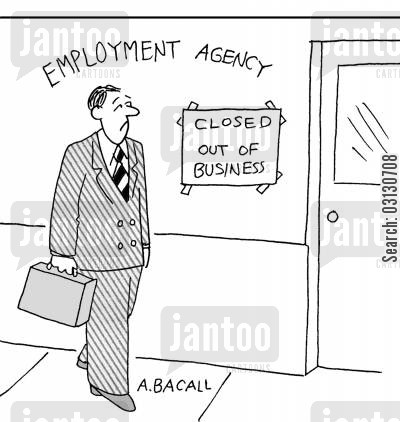 employment agency cartoon humor: Employment Agency - Closed.
