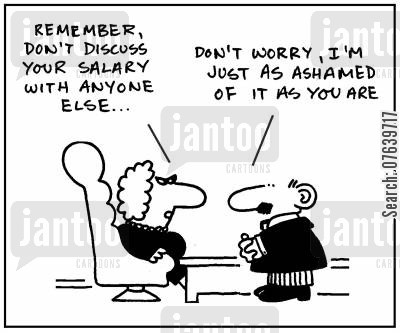 shames cartoon humor: 'Remember, don't discuss your salary with anyone else.' - 'Don't worry, I'm just as ashamed of it as you are.'