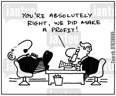 invention cartoon humor: 'You're right, we did make a profit.'