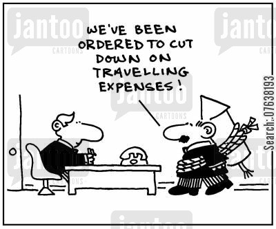 expenses account cartoon humor: 'We've been ordered to cut down on traveling expenses.'