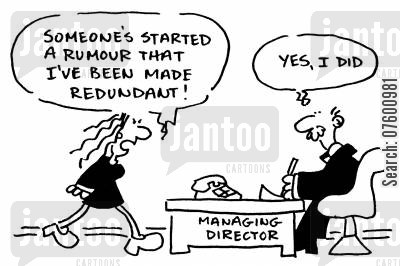 managing directors cartoon humor: Woman made redundant