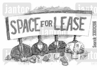 business world cartoon humor: Space for Lease.
