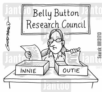 files cartoon humor: Belly button research council - InnieOutie.
