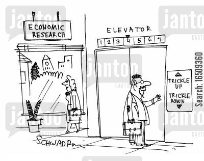 trickle cartoon humor: Economic research building has elevator sign reading 'Trickle upTrickle down.'
