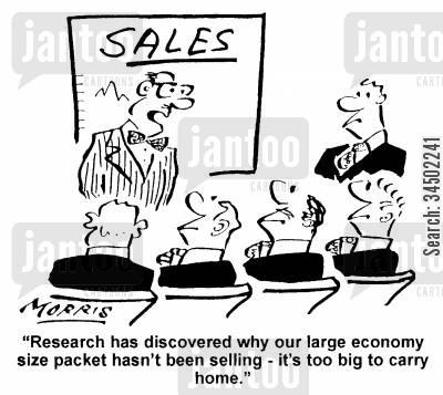 inefficiency cartoon humor: Our large economy size packet hasn't been selling...it's too big to carry home.